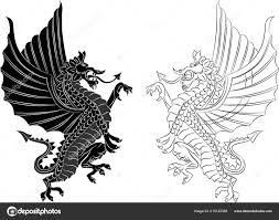 племенной татуировки дракона белом фоне векторные иллюстрации