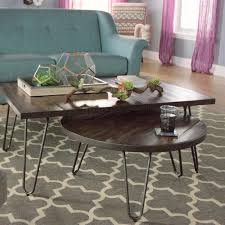 modern rustic nesting coffee tables rectangular wood hairpin coffee tabl on com coffee table set of