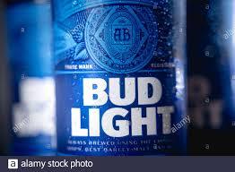 Bud Light Advertising Bottles Of Bud Light Beer An American Light Beer Stock