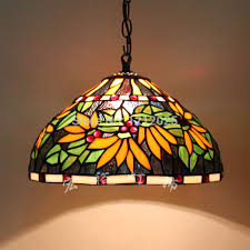 Retro Tiffany Pendant Lamp Flower Design Dinning Room Home Kitchen Stained  Glass Lampshade Vintage Hanging Lights ...