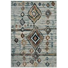8x10 brown rug distressed tribal abstract diamond area rug in silver blue beige and brown chocolate 8x10 brown rug