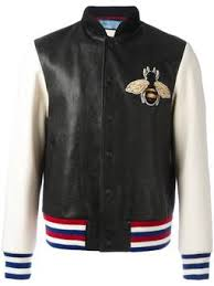 gucci leather jacket. bee appliqué bomber jacket gucci leather g