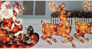 Outdoor Lighted Santa Sleigh Reindeer Pinterest