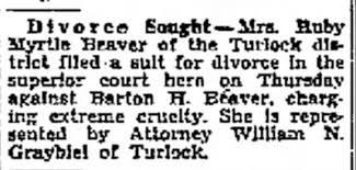 Ruby Myrtle Beaver-Barton H Beaver, Divorce Filed - Newspapers.com