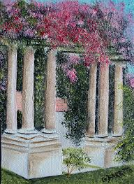 garden pillars. Fine Garden Flowers Painting  Pillars In The Garden By Gloria E BarretoRodriguez For D