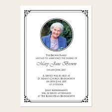 Memorial Announcement Cards Funeral Announcement Cards Ornate Border