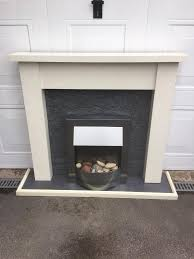 silver electric fire with mdf fire surround