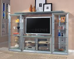 Tv Stands For Lcd Tvs Silver Color Contemporary Tv Stand W Glass Shelves