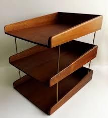 white wood desk organizer elegant danish modern teak or walnut wood 3 tier desk letter tray