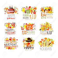 Happy Child Holiday Colorful Graphic Design Template Series Hand