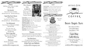 Doors the summer of 1994. Avalon Coffee Co Menu In Cape May New Jersey Usa