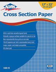 Alvin 17x22 Cross Section Graph Drawing Paper 10x10 Grid