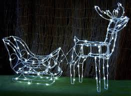3d white solar led flashing deer sleigh outdoor reindeer light 145cm