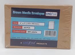 Manila Envelope Size Chart Unistar Brown Manila Envelopes 6x4 Pack Of 50 Bm 60694 9555017606949