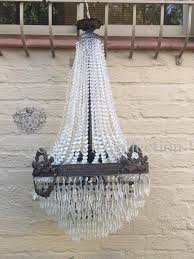 antique french basket style crystal chandelier