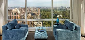 nyc apartment furniture. An Interior View Of A High Rise NYC Luxury Apartment With Large Window Walls And Blue Nyc Furniture