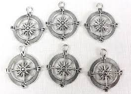 silver compass pendants 6 nautical charms travel jewelry findings jewelry making supply images of