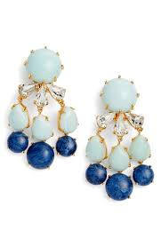 lele sadoughi papyrus beaded chandelier earrings in turquoise