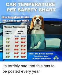 Car Temperature Pet Safety Chart How Long Does It Take For A