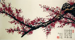 chinese flower paintings wine colored plum blossom