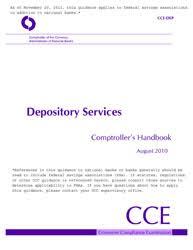 Comptrollers Handbook Depository Services Occ