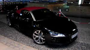 black audi r8 convertible. audi r8 v10 convertible black with red roof walk around dubai marina youtube b