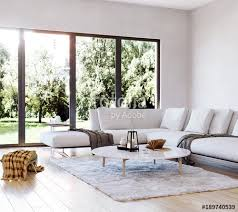 modern interior living room garden view perspective