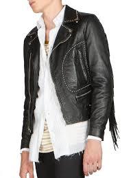 lyst saint lau fringe leather moto jacket in black for men