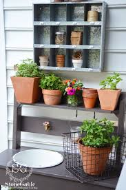 Balcony Kitchen Garden Summer Potting Bench And Kitchen Garden Stonegable
