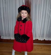 red coat hat and with fake fur for little girl