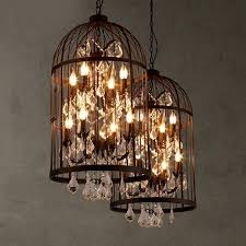 lovely american country vintage birdcage chandelier retro villa staircase for chandelier crystals parts