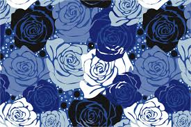 Rose Pattern Magnificent Seamless Pattern Blue Roses Graphic Patterns Creative Market