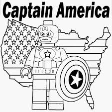 Small Picture Printable Lego Marvel Superheroes Captain America Coloring Sheet