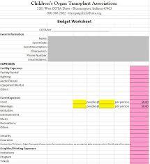 Samples Of Budget Spreadsheets Budget Worksheets And Samples Childrens Organ Transplant