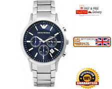 mens chronograph watch new emporio armani ar2448 mens classic stainless steel blue chronograph