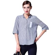 Clothing Design Manufacturers Clothing Manufacturers 2019 Latest Fashion Design Half Sleeves Standing Collar Stripe Korean Cotton And Linen Top For Women Buy Vertical Stripe