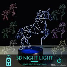2019 Unicorn 3d Night Light Decorative Led Bedside Table Lamp For