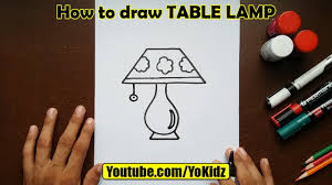 How To Draw Table Lamp For Kids
