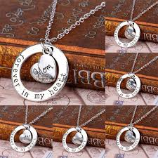 details about family member heart pendant necklace gifts retro forever in my heart circle love
