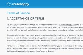 terms of use of routehappy