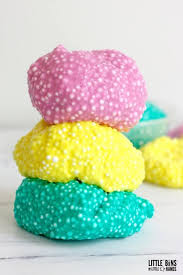 check out the thicker crunchy slime below using white glue and clear glue with a mix of foam beads