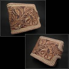 natural fl hand tooled leather wallet with leather braided edges shows extreme attention to detail