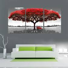 drawing red tree painting modular pictures home wall huge decoration modern abstract canvas painting no