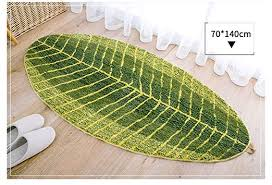 hemkry green leaf shaped oval bathmat living room carpet bedroom rug mat washable rugs home decorator