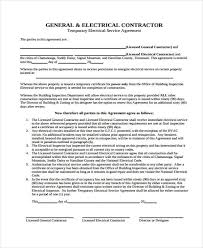 Service Contract Template Free Contract Template Electrical Contract Agreement Template Contractor Agreement