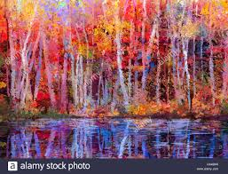 oil painting colorful autumn trees semi abstract image of forest aspen trees with yellow red leaf and lake autumn fall season nature background