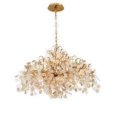 eurofase campobasso 8 light gold chandelier with glass wafers shade