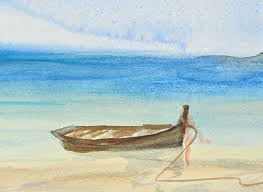 one fishing boat on beautiful beach watercolor painting stock ilration ilration of ilration