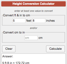Height Conversion Chart Ft To Cm Height Converter Ft To Cm And Cm To In