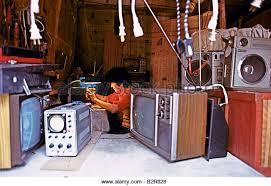 tv repair shop. repair shop in china - stock image tv i